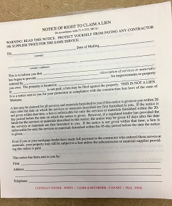 Notice of right to file a lien forms